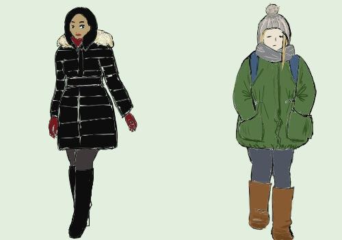 左の女性は黒いコートと黒いブーツ、右の女性はグリーンのコートと茶色いブーツの絵
