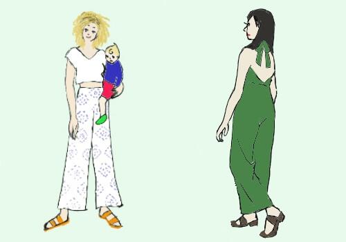 左にパジャマのようなズボンを履いて子供を抱っこしている女性、右にジャンプスーツを着ている女性の絵
