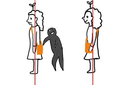 カバンが体の後ろにあると中身を盗まれる危険が増え、前にあると危険が減る事を説明した絵