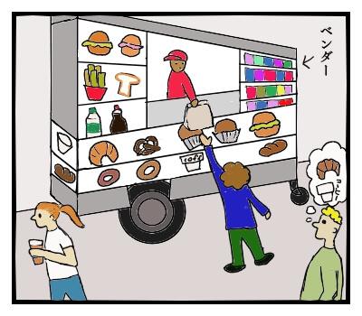 ベンダーで足早に朝食を買うニューヨークの人々
