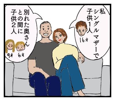シングルマザーで一人息子をもつ女性と、別れた奥さんとの間に2人の子供をもつ男性の高齢カップルが、ソファに腰掛けている絵