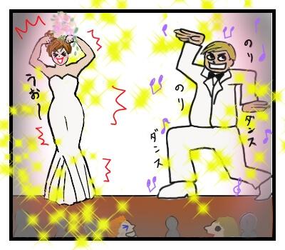 ステージの両脇から踊りながら登場した新郎新婦の絵