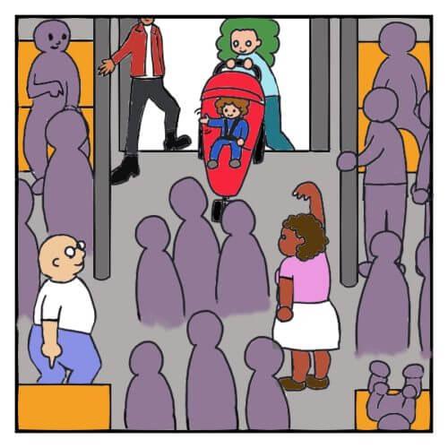 NYの地下鉄で、ベビーカーを押しながら乗ったら、乗客皆が優しく迎え入れてくれた絵