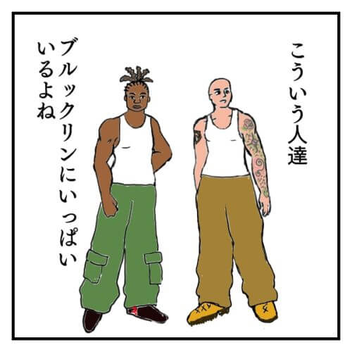 白いタンクトップを着た外国人男性二人の絵。