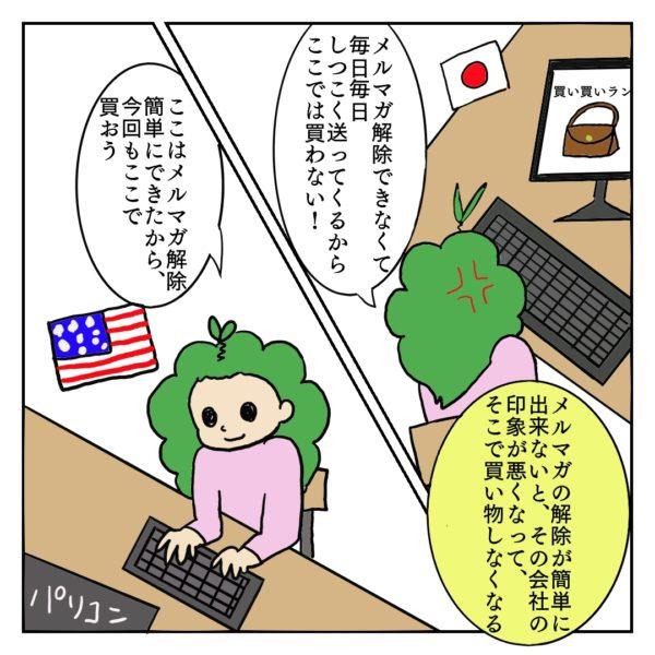 メルマガ解除ができない日本の企業ではなく、メルマガ解除が簡単なアメリカの企業でネットショッピングをしている女性の絵
