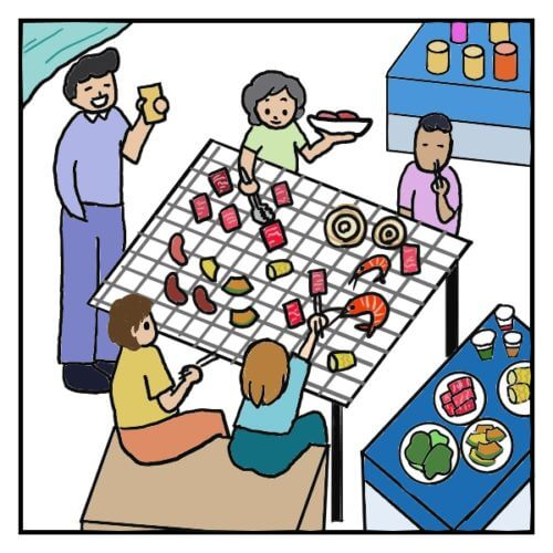 日本のバーベキューの風景の絵。主に牛肉をやき、魚介、野菜、ソーセージが網に乗っている。ビールを飲んでいる