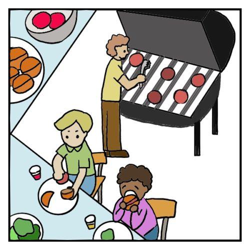 アメリカのバーベキューの風景。丸く形成した挽肉を焼き、ハンバーガーのパンに挟んで食べる。お酒は外で飲まない。