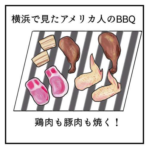 横浜で見たアメリカ人のバーベキューの網の上。鶏肉や豚肉が乗っている。
