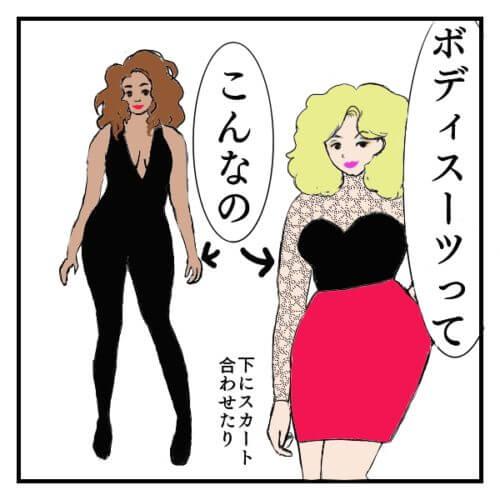 ボディスーツを着ている二人の女性の絵