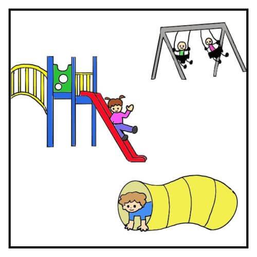 ニューヨークの公園プレイグラウンドで遊んでいる子供たちの絵