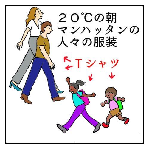 9月、20℃の朝のニューヨーカーたちの服装。Tシャツを着ている大人と子供