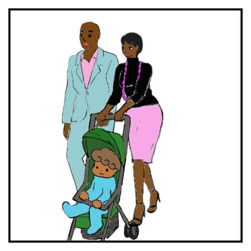 ピンクでキメてるペアルックのカップルと、その子供
