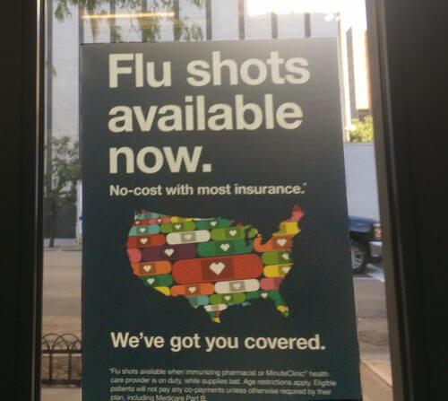 アメリカの薬局CVSのインフルエンザ予防接種のポスター