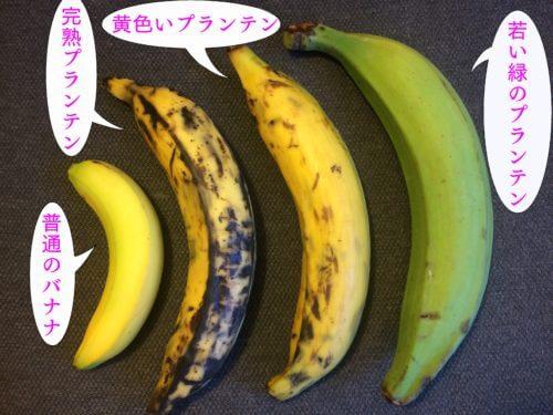 緑のプランテンと黄色いプランテンと黒いプランテンとバナナを比べた写真
