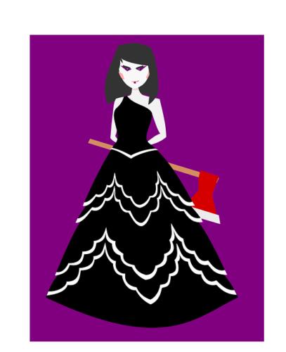 着るべきでないハロウィーンコスチュームの例として、武器のオモチャをもった女性の絵