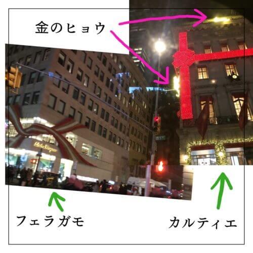 ニューヨーク5番街の、2匹のヒョウがくっついているカルティエと、リボンが巻かれているフェラガモの建物の写真
