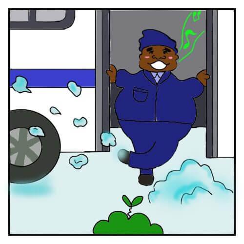 ニューヨークで、バリトンで歌いながら雪を蹴散らすMTAバスのアシスタント