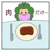 アメリカでステーキを頼んだら、副菜など何もなく、肉しか出てこない絵