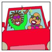 車の中で楽しそうに歌って踊っている人達がノロノロ運転をしていた絵