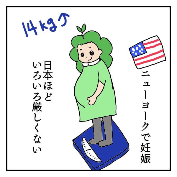 アメリカで妊娠し、体重計に乗って14kg増えても平気な顔の女性