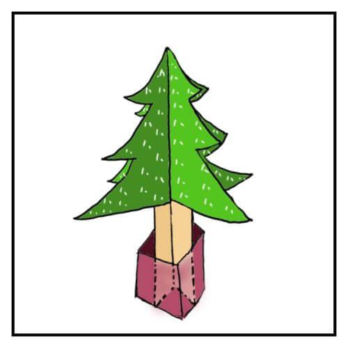 ダンボールで作ったクリスマスツリーの植木鉢部分が透明になっている絵
