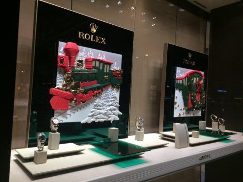ニューヨーク5番街のロレックスのクリスマスディスプレイ
