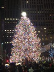 ニューヨーク・マンハッタンのロックフェラーセンターのクリスマスツリーのアップ写真