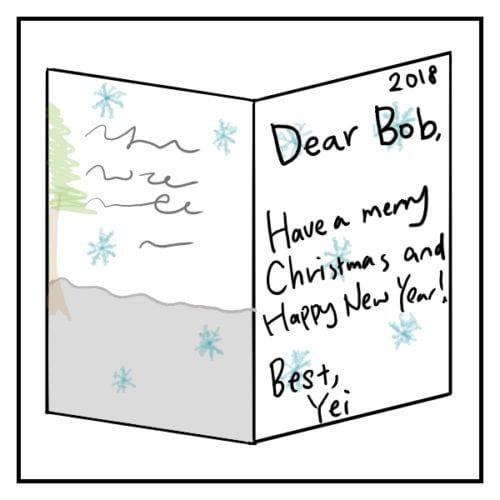 クリスマスカードを英語で書く時の例