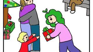 クリスマスパーティーで、ハグする人と、子供にプレゼントを渡す人の絵