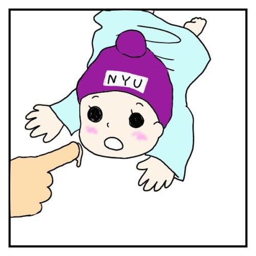母乳コンサルタントが、おっぱいを指につけ、赤ちゃんの口に入れている絵