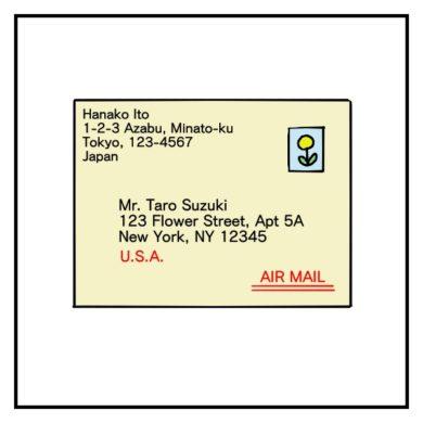 アメリカの住所に横書き封筒を送る時の住所の書き方