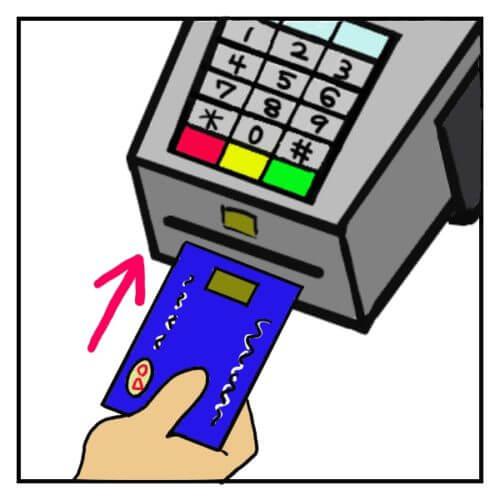 アメリカでチップ入りクレジットカードを差し込む方法