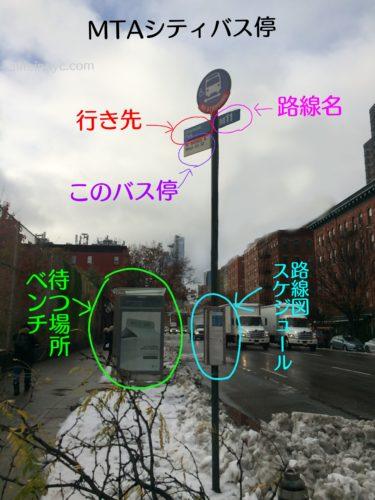 ニューヨークのMTAシティバスのバス停留所