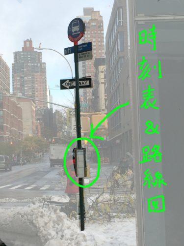 MTAバスのバス停の時刻表と路線図が書かれている部位を表した写真
