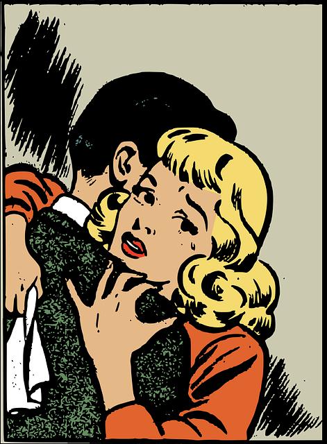 男性とハグをして戸惑っている女性