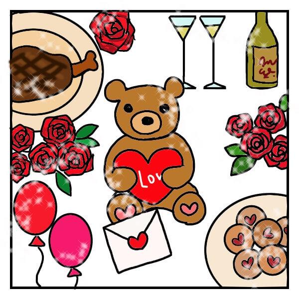 愛がこもったメッセージを抱いたテディベアと豪華な食事の絵