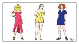ニューヨーク8月のスカートスタイルの女性3人の絵