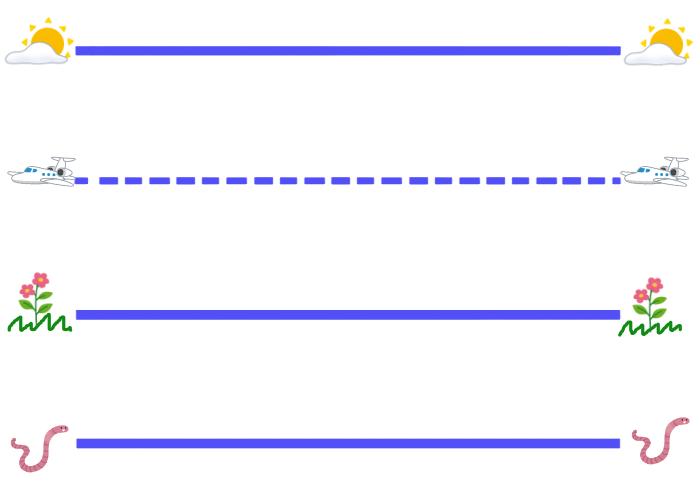 SKY LINE, PLANE LINE, GRASS LINE, WORM LINEアルファベット練習シート