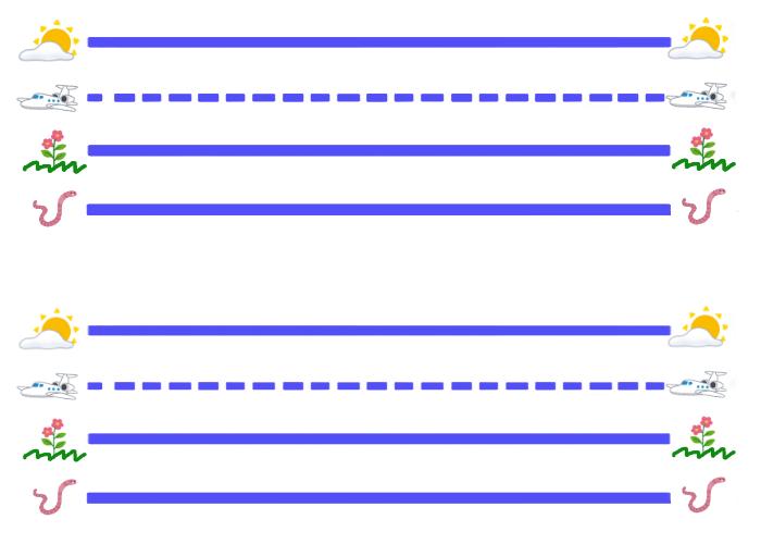 アルファベット練習シートSKY LINE, PLANE LINE, GRASS LINE, WORM LINE