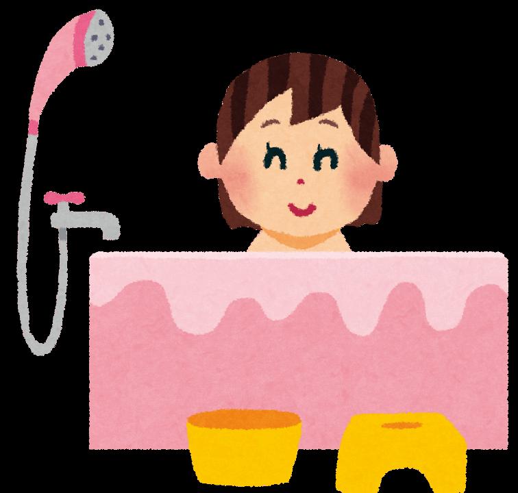 お風呂に入っている女性の絵